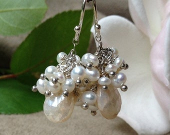 Pearl Cluster Earrings with White Sapphire Teardrops, Gift for Her. Bride's Jewelry. Wedding Earrings