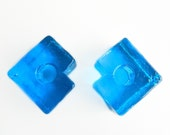 Pair of Urshult Sweden blue glass candle holders