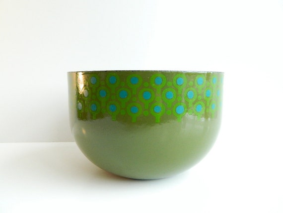 Mod green and blue Enamel VEFA Bowl Merrill Ames