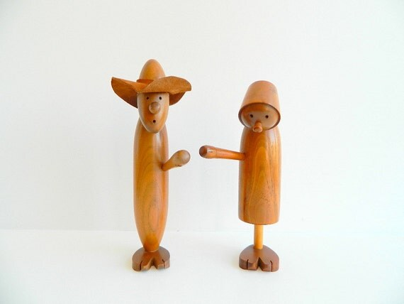 Set of Danish Modern Wood Man and Woman