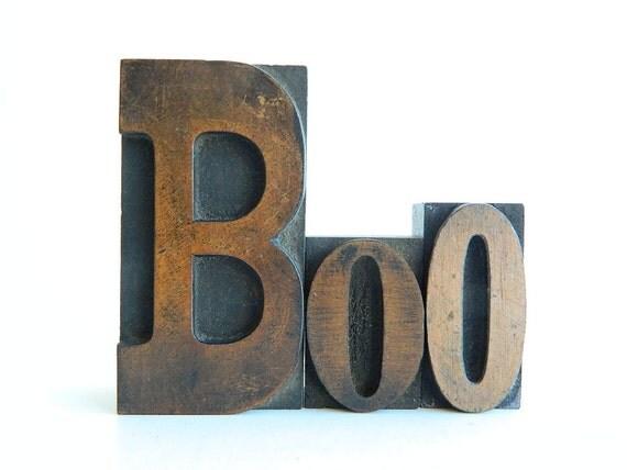 BOO Vintage Wood Letterpress Type Set