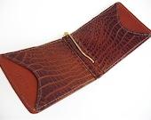 Alligator Money Clip Wallet- Handmade Leather Card Case