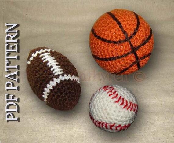 Close Amigurumi Ball : Toy Football Basketball and Baseball INSTANT DOWNLOAD