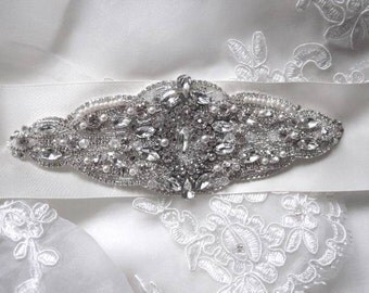 Olivia Bridal Wedding Dress Rhinestone Crystal Embellished Belt Sash Vintage Wedding Art Deco