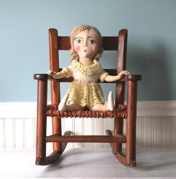 Antique Childs Wooden Rocking Chair    B