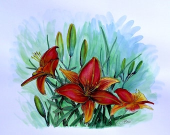 TANGERINE LILIES - Original Hand Colored Watercolor Botanical Print 11 x 14