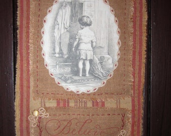 Vintage Lace and Ticking Mini Quilt Collage  Christmas Girl by Fireplace Stockings Hung