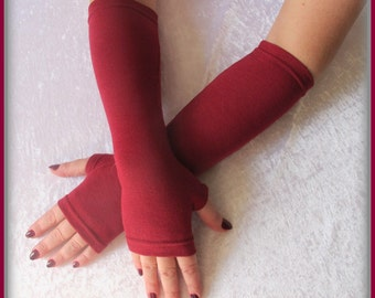SALE GLOVES Fingerless  gloves  long dark - red