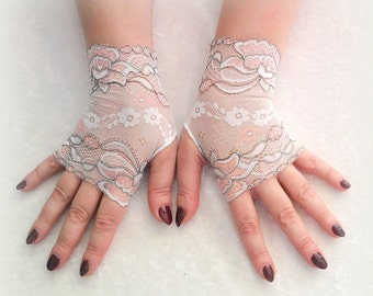Fingerless white with pink and  gray gloves of stretch lace