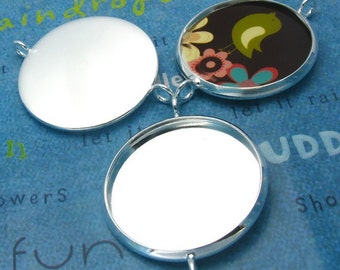 20pcs 27mm BRASS Base Trays Double ring silver tone pewter blank pendant