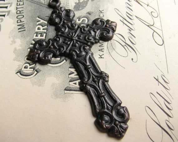 Victorian Mourning black cross pendant, large rosary cross, aged oxidized patina, solid antiqued black brass, Gothic image  CH-SV-003