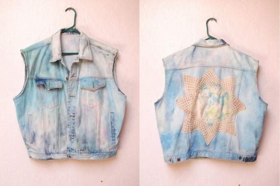 Bleached Out Denim Vest with Marbled Doiley Back Patch