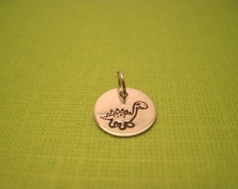 Charm- 3/8 inch hand stamped sterling silver charm custom made for you