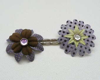 nhp-Purple and Brown Silk Flower Hair Pins