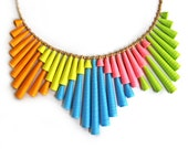 Neon Necklace - First anniversary gift - Colorful jewelry - Bold statement jewelry - Geometric necklace - Paper bead jewelry