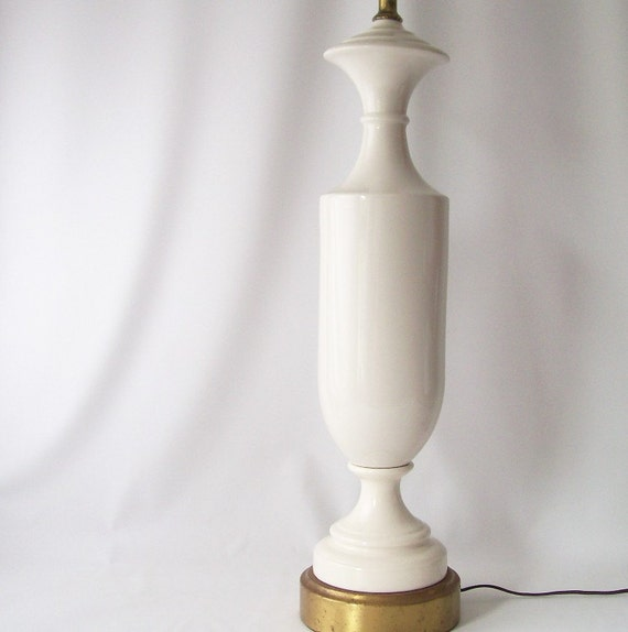 vintage white lamp mid century modern modernist minimalist hollywood chic retro bone gold home decor simple fresh