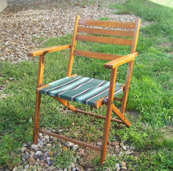 vintage wood deck chair striped canvas seat folding lawn chair patio furniture home and garden outdoor living