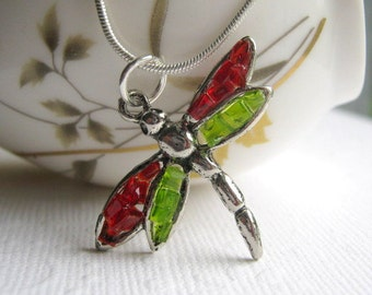 Dragonfly Jewelry, Red Dragonfly, Glass Dragonfly, Dragonfly Necklace, Dragonfly Pendant, Green Dragonfly