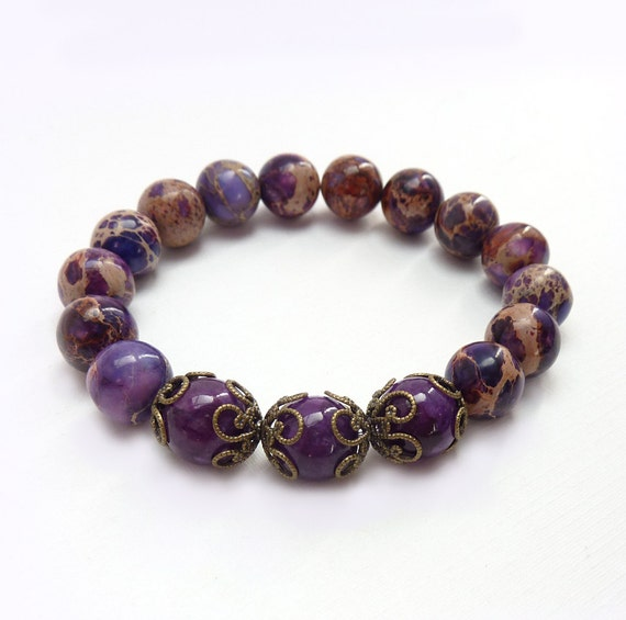 Jasper Stone Bracelet, Imperial Jasper Stones, Purple Stacking Bracelet, Autumn Colors, Bohemian Bracelet by Rock Stone Treasures