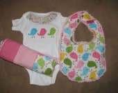 Tweet Bird Onesie, Bib, Burp Cloth Set