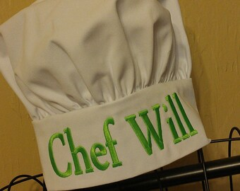 Personalized Child's Chef Hat - Cooking Hat - Monogrammed Chef Hat - Kids Chef Hat with Name