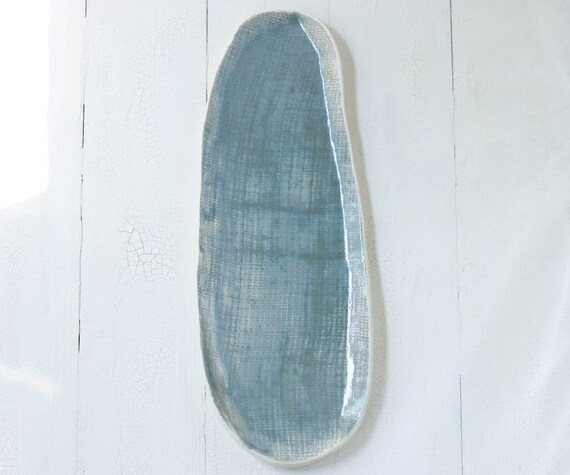 Textured Porcelain Tray in Smokey Blue