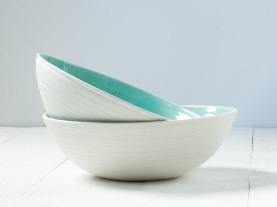Striped Aqua Porcelain Bowl Set