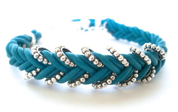 50% off SALE - Turquoise Leather Double Braided Chevron Bracelet With Silver Bead Rings ... by  B A L O O S