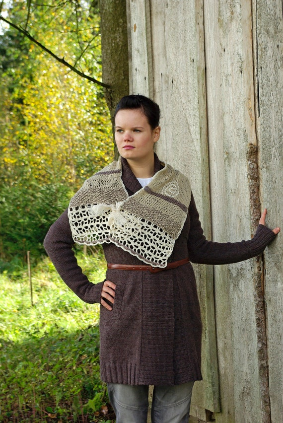 Taupe Brown Knitted and Crocheted Scarf, Large Neckwarmer with Lace Ribbon. Fall Scarf. RESERVED for Tiffany