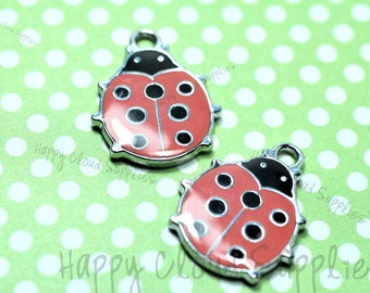 Red Lady Bug Enamel Charms... 4pcs
