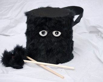 Kids Drum - Furry Black Handmade Durable Eco-Friendly Fun Coolest Marching Drums For Kids 'BLAST BUDDY'