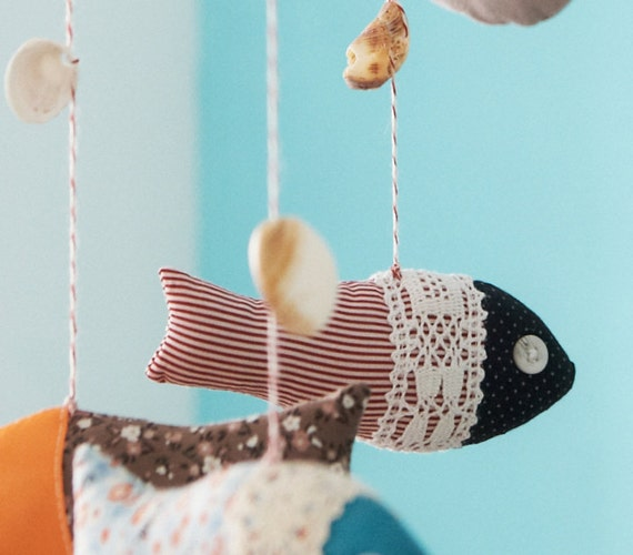 mobile, Crib mobile, nursery decor, baby shower gifts, nursery mobile, baby mobile, boat fish mobile