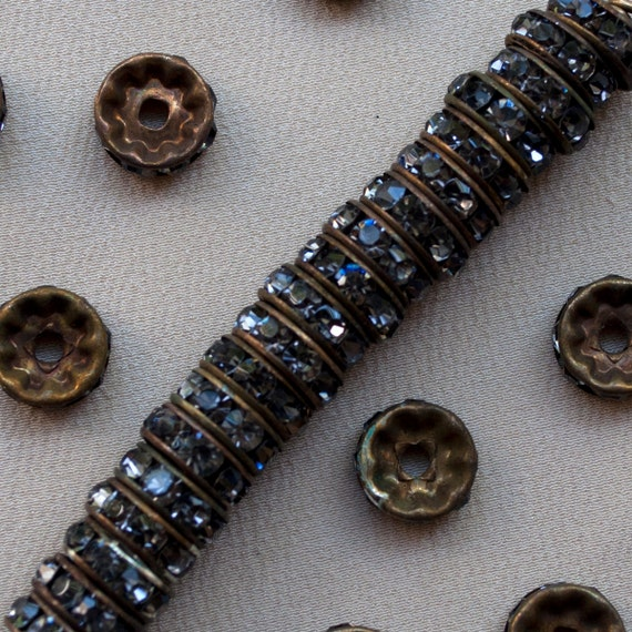 SOLD* to Susan 10 mm Grey Rhinestone Rondelle Classic Brass Beads 40 Pieces