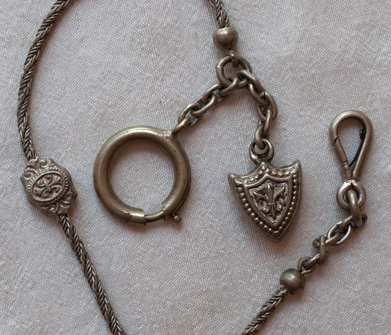 Antique Watch Chain Fleur de Lis Shield Fob from France
