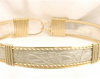 Gold & Sterling Silver Wide Patterned-Wire Bracelet