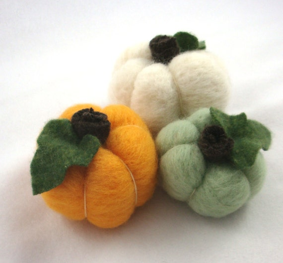 Needle Felted Pumpkins Wool Halloween Fall Decoration Set of Three Mint Green Orange Cream Waldorf Nature Table