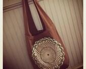 Reverse Dyed Sling Bag w Vintage Crochet