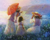 Mother and Two Daughters Art Print, beach paintings children at beach, two daughters, three sisters, two sisters art ocean, Vickie Wade Art