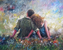 Loving Couple Art Print, lovers hugging wall art, romantic art, red head lady, teal green, couples gift, married love, Vickie Wade Art