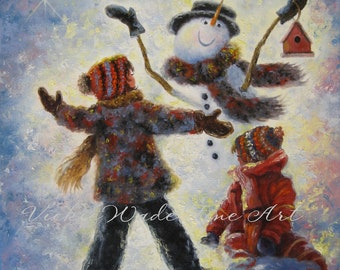 Snowman Two Girls ORIGINAL Painting, snowman paintings, girls in snow, winter, two sisters & snowman, children, Snowman JOY, Vickie Wade art