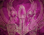 Twin Faerie Banner of Tantric Union in Gold on Magenta Bali Cotton