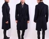 Mens Cashmere Coat . Navy Blue Winter Coat . Mens Wool Coat . Large