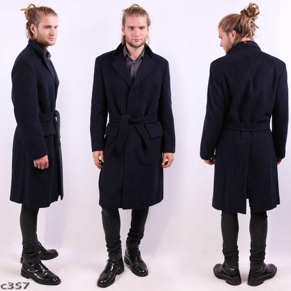 Mens Cashmere Coat . Navy Blue Winter Coat . Mens by BetaMenswear