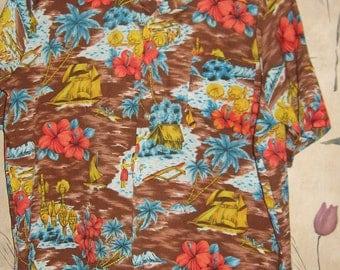 Vintage hawaiian shirt 70s Sears Kings Road scenic hula girls tribal tiki shirt    sz xlarge