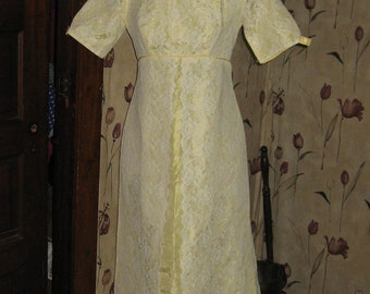 1960 white lace over yellow satin long gown