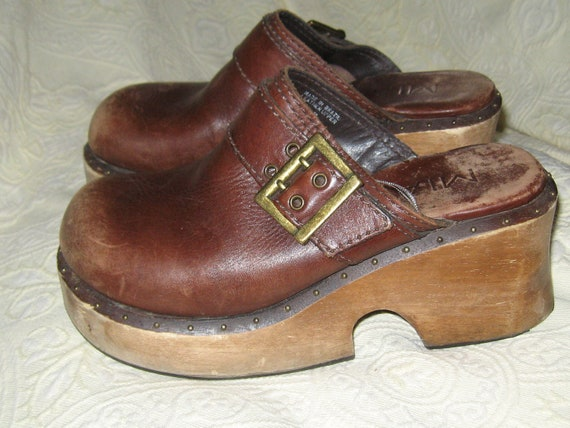 Vintage MIA Leather Wood Clogs Brown size 8