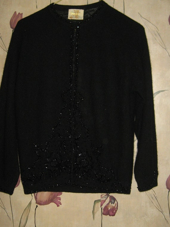 Vintage 50s  pin up Cyn Les lamb wool and angora black beaded sweater