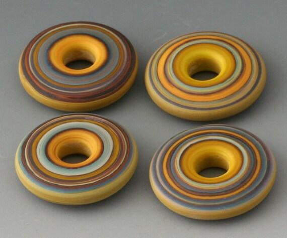 Southwest Discs - (4) Handmade Lampwork Beads - Squash, Pistachio - Etched, Matte