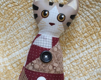 Stuffed Plush Patchwork Folk Art CAT with Hand PAINTED Face -  Toby the Brown Tabby - by Jill