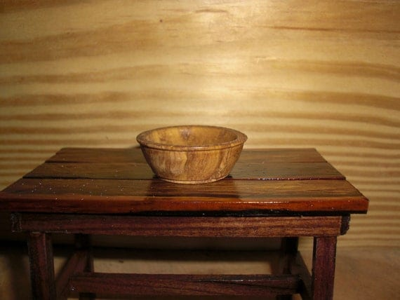 Reserved for Mary Ciccolella Dollhouse Miniature Scale Large Olive Wood Dough Bowl Antique Replica 4018